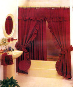 BURGUNDY-Double Swag Fabric Shower Curtain +Liner+Rings