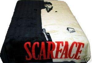 QUEEN  Scarface Tony Montana Mink Plush Raschel Blanket 032