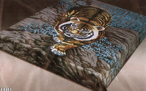 KING Korean Design Tiger Plush Soft Raschel Blanket-NEW
