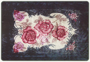 KING Korean Design N. Blue Floral Plush Raschel Blanket