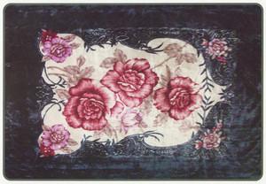 KING Korean Design H.Green Floral Plush Raschel Blanket