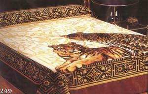 KING Korean Design Tiger Cheetah Plush Raschel Blanket
