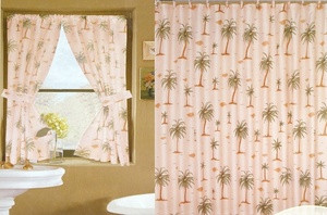 NEW Palm Tree Shower Curtain w/ Matching Window Curtain