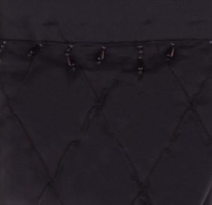 Fabric Diamond Stitch Shower Curtain w/ Vinyl - Black