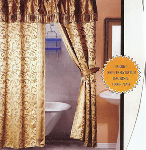 Taupe Shower Curtain w/ attached Valance + 1 PEVA Liner