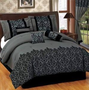 CAL-CALIFORNIA KING size 7pcs Luxurious Comforter Bedding/Bed Ensemble Set-GREY