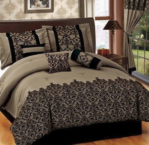 QUEEN size Bed in a Bag 7 pcs Luxurious Comforter Bedding Ensemble Set - COFFEE