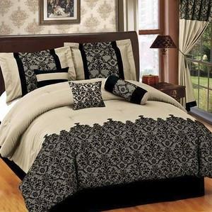 TWIN size Bed in a Bag 5 pcs Luxurious Comforter Bedding Ensemble Set - BEIGE