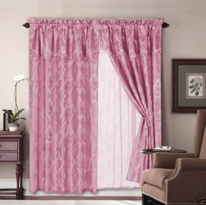 Jacquard Window Curtains / Drapes Set with Attached Valance & Lace Liner - PINK