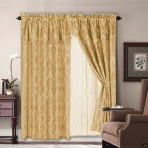 Jacquard Window Curtains / Drapes Set with Attached Valance & Lace Liner - GOLD