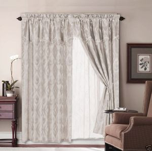 Jacquard Window Curtains / Drapes Set with Attached Valance & Lace Liner - BEIGE