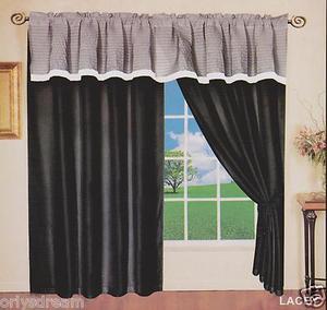 "New Elegant Soft MICROFIBER 2 Panels Curtains / Drapes Set ""LACEY""- BLACK & GRAY"