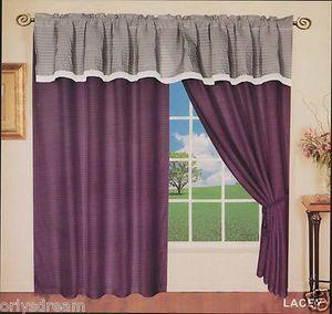 "New Elegant Soft MICROFIBER 2 Panels Curtains / Drapes Set ""LACEY""-PURPLE & GRAY"