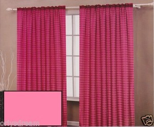 TWO Panels CHECKED Texture Rod Pocket SHEER VOILE Fabric Curtain Set - HOT PINK