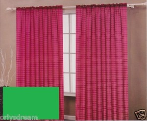TWO Panels CHECKED Texture Rod Pocket SHEER VOILE Fabric Curtain Set- SAGE Green