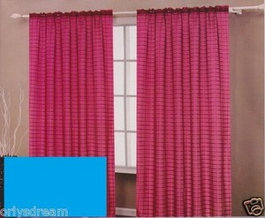 TWO Panels CHECKED Texture Rod Pocket SHEER VOILE Fabric Curtain Set - HOT BLUE