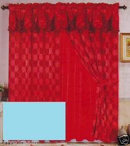 Luxury JACQUARD Window Curtain / Drape Set With Satin Valance & Backing - TEAL