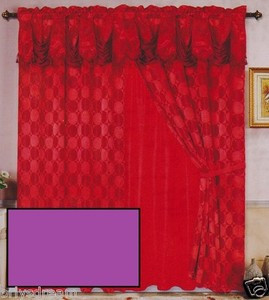 Luxury JACQUARD Window Curtain / Drape Set With Satin Valance & Backing - PURPLE
