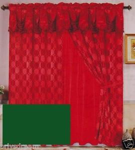 Luxury JACQUARD Window Curtain / Drape Set With Satin Valance & Backing - HUNTER