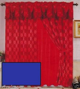 Luxury JACQUARD Window Curtain / Drape Set With Satin Valance & Backing - NAVY