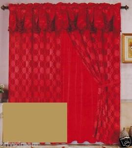Luxury JACQUARD Window Curtain / Drape Set With Satin Valance & Backing - GOLD