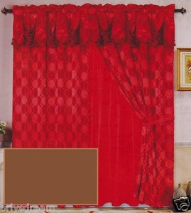 Luxury JACQUARD Window Curtain / Drape Set With Satin Valance & Backing - COFFEE
