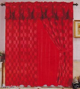 Luxury JACQUARD Window Curtain / Drape Set With Satin Valance & Backing-BURGUNDY