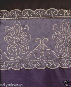 "Beautiful Elegant EMBROIDERY 2 Panel Curtain Set""SHERRY""PURPLE & CHOCOLATE BROWN"