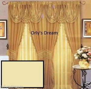Sheer & Lace Victorian Window Curtain Set w/Satin Valance & Backing Panel-BEIGE