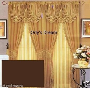 Sheer & Lace Victorian Window Curtain Set w/Satin Valance & Backing Panel-BROWN