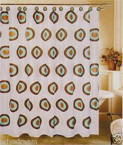 New Modern Design Printed Fabric Shower/Bath Curtain + Metal/Ceramic Hooks/Rings