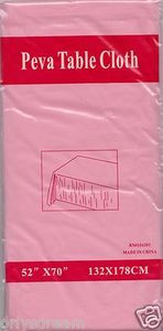 "NEW Peva Table Cloth 52"" x 70"" (132cm x 178cm) - PINK"