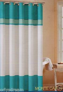 "Soft Microfiber Fabric Shower Curtain ""Monte Carlo"" - TURQUOISE & White colors"