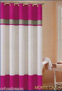 "Soft Microfiber Fabric Shower Curtain ""Monte Carlo"" - PINK, Grey & White colors"