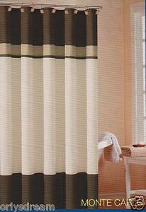 "Soft Microfiber Fabric Shower Curtain ""Monte Carlo"" - BROWN,Cream & Beige colors"