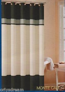 "Soft Microfiber Fabric Shower Curtain ""Monte Carlo"" - BLACK, Grey & Beige colors"