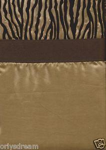 "Camel/Gold & Dark Brown Color Flocked ""ZEBRA"" Texture Fabric Shower/Bath Curtain"