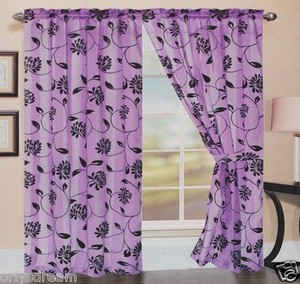 TWO Panels FLOCKED Texture SHEER & SATIN Fabric Curtain Set-LIGHT PURPLE / LILAC
