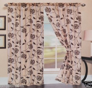 TWO Panels FLOCKED Texture SHEER & SATIN Fabric Curtain Set - TAUPE / GOLD Color