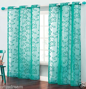 TWO Panels FLOCKED Texture Grommet Panels SHEER Fabric Curtain Set - HOT BLUE