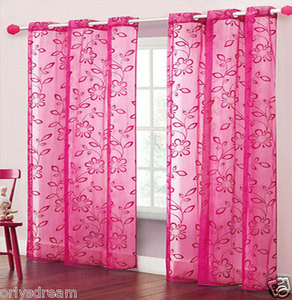 TWO Panels FLOCKED Texture Grommet Panels SHEER Fabric Curtain Set - HOT PINK