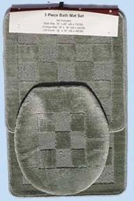 3 Pc. Bathroom Mat/Rug SET: Bath and Contour Rug/Mat+Toilet Lid Cover-DARK GREEN