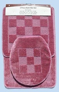 3 Pc. Bathroom Mat/Rug SET: Bath and Contour Rug/Mat + Toilet Lid Cover - Pink