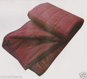 KING Soft BORREGO Suede/Wool Style QUILTED Micro Fiber Blanket/Throw - BURGUNDY