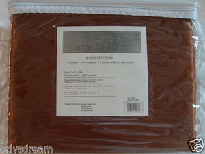"Luxury Soft ""Silk"" / ""Silky"" 4 Pc. FULL Size Bed Satin Sheet Set - Solid Brown"