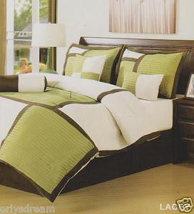 "7 Pcs Soft Microfiber Patchwork QUEEN Size Comforter Set ""LACEY"" Sage Green -NEW"
