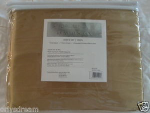 "Luxury Soft ""Silk"" / ""Silky"" 3 Pc. TWIN Size Bed Satin Sheet Set - Gold Color"