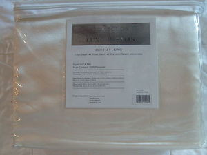 "Luxury Soft ""Silk"" / ""Silky"" 4 Pc. KING Size Bed Satin Sheet Set - Solid Beige"
