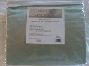 "Luxury Soft ""Silk"" / ""Silky"" 4 Pc. KING Size Bed Satin Sheet Set - Sage Green"