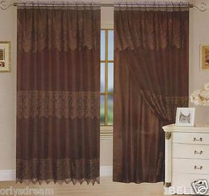 "New Beautiful Elegant SHEER & LACE 2 Panels Curtains/Curtain Set ""Belle"" - BROWN"
